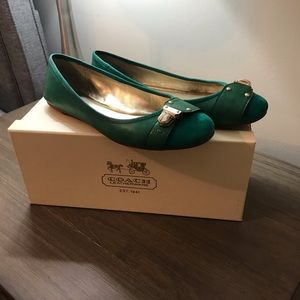Coach Flats - Emerald Green Leather & Suede